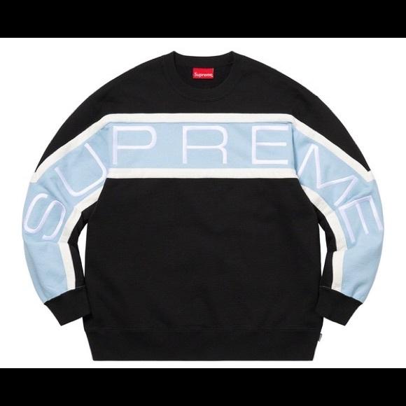 Supreme Paneled Logo Crewneck Sweater Black & Blue